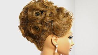 getlinkyoutube.com-Bridal prom updo. Hairstyle for medium hair