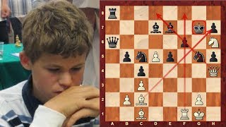 getlinkyoutube.com-Amazing Game: Magnus Carlsen's beautiful Queen Sacrifice game at the age of 12! (Chessworld.net)