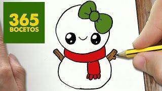 getlinkyoutube.com-COMO DIBUJAR UN MUÑECO DE NIEVE PARA NAVIDAD PASO A PASO: Dibujos kawaii navideños -  draw a SNOWMAN