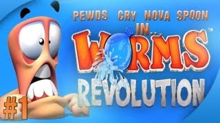 getlinkyoutube.com-Nova / Sp00n / Cry / Pewds - Worms Revolution Part (1) Match (1)