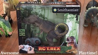getlinkyoutube.com-Dinosaur Toys: Smithsonian RC T-REX Unboxing & Playtime with Hulyan :-)