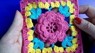 getlinkyoutube.com-Вязание крючком Урок 253 Мотив с цветком Crochet square with flower