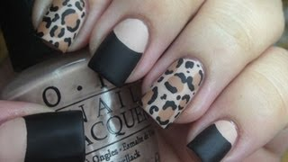 getlinkyoutube.com-Matte Leopard Nail Tutorial and Halfmoon Manicure