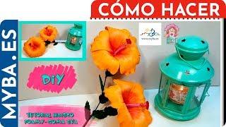 getlinkyoutube.com-Cómo hacer flor de hibisco de foamy o goma eva paso a paso.