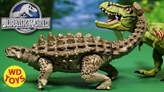 getlinkyoutube.com-New Jurassic World Ankylosaurus Bashers & Biters Vs T-Rex Unboxing, Review By WD Toys