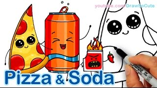 getlinkyoutube.com-How to Draw Cute Pizza Slice & Soda Can Cute and Easy