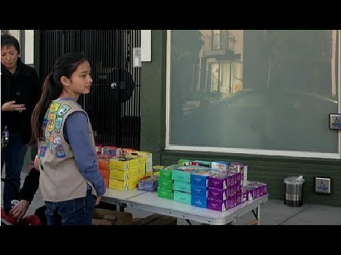 Smart Girl Sells Girl Scout Cookie Outside The Weed Club In SF