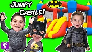 getlinkyoutube.com-Worlds BIGGEST Jumpy Castle SURPRISE Egg! Batman Bootcamp Imaginext Toys + Blind Boxes HobbyKidsTV