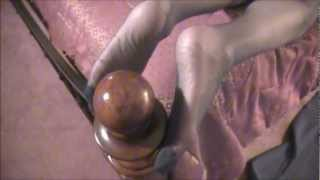getlinkyoutube.com-JULIE WEARING PANTYHOSE, POLISHES OUR BEDPOST KNOB WITH HER FEET