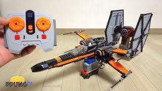 getlinkyoutube.com-LEGO Star Wars 75102 & 75101 - RC Motorized Poe's X-Wing Fighter & Tie Fighter Dogfight by 뿡대디