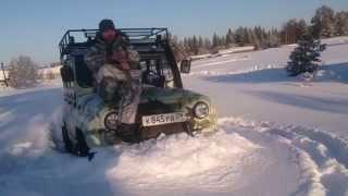 getlinkyoutube.com-Уаз на фбел 160м (белках) едет по глубокому снегу