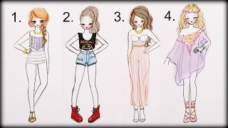 getlinkyoutube.com-❤ Drawing Tutorial - How to draw 4 Summer Outfits ❤