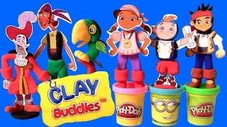 getlinkyoutube.com-Clay Buddies Jake and the NeverLand Pirates Play-Doh Captain Hook Skully Izzy Cubby Pirate PlayDough