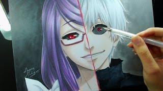 getlinkyoutube.com-Speed Drawing - Kamishiro Rize\Kaneki Ken (Tokyo Ghoul)