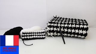 getlinkyoutube.com-Crocheter un design noir-blanc / Motif tendance / Crochet facile / Pied de poule