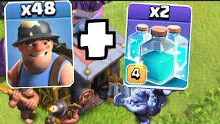 Clash Of Clans -ALL CLONES & MINERS!! CLONE WARS!! (Max miner and Clone spell)