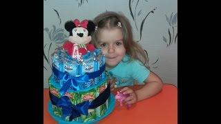 getlinkyoutube.com-Делаем торт на день рождения из соков и барни в детский сад!!!