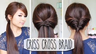getlinkyoutube.com-Criss Cross Braid Hair Tutorial (French Fishtail Cheat) Easy Hairstyles