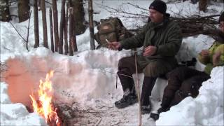 getlinkyoutube.com-The Long Fire In The Winter & Cooking Salmon