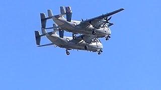 getlinkyoutube.com-衝突!するかと思った 厚木基地の飛行機 C-2Aグレイハウンド