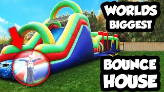 getlinkyoutube.com-WORLDS BIGGEST Bounce House Obstacle Course with Giant Slide, Inflatable Bounce House
