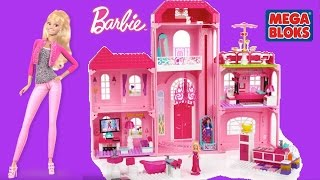 getlinkyoutube.com-Mega Bloks Barbie Build N Style Luxury Mansion with Barbie dolls - Barbie Life in the Dream House