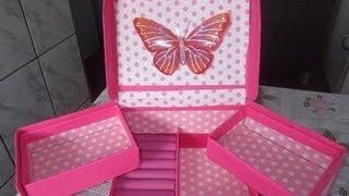 getlinkyoutube.com-como fazer organizador de maquiagem, anel e acessórios com caixa de sapato