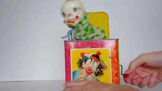 """getlinkyoutube.com-Vintage 50's Mattel Jack In The Box Metal Toy Demo 1953 Plays """"Pop Goes the Weasel"""""""