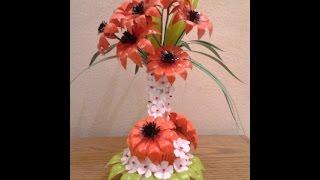 getlinkyoutube.com-Best Out Of Waste Plastic transformed to fabulous orange flowers Showpiece