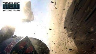 getlinkyoutube.com-3.4 BMW S1000RR 100mph Superbike Crash - 61.13 degree lean angle