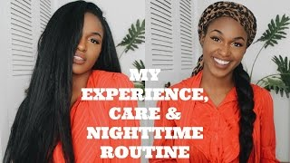 getlinkyoutube.com-My Crochet Experience, Care and Nighttime Routine   Outre X-pression Dominican Straight Blowout