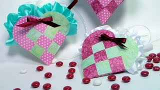 getlinkyoutube.com-Woven Paper Heart Pocket Filled With Candy