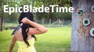 getlinkyoutube.com-Knife Throwing Women Part 1 - Epic Blade Time