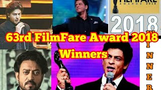 Shah Rukh Khan | 63rd Filmfare award 2018 winner's list | Full Show | Video Reel