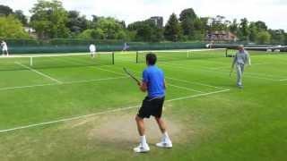 getlinkyoutube.com-Milos Raonic / Richard Gasquet Practice - High Intensity Hitting HD - Rear View - Wimbledon
