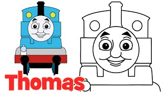 How to draw Thomas from Thomas and Friends step by step easy drawing for kids