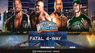 WWE'13 l The Rock vs Stone Cold vs Brock Lesnar vs John Cena width=