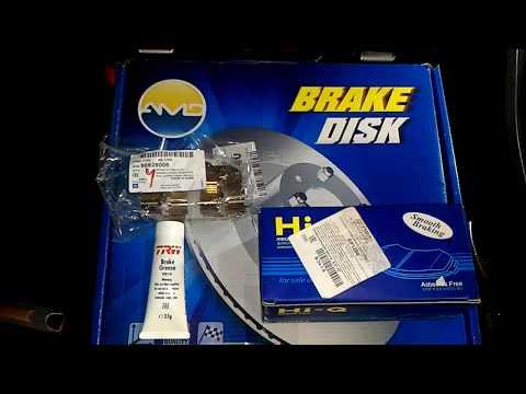 Тормозные диски фирмы AMD и колодки Sangsin для Opel Antara 2,4 2012.