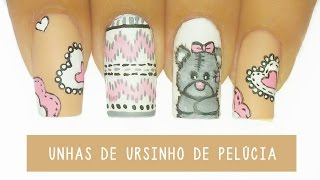 getlinkyoutube.com-Unhas Decoradas Ursinho de Pelúcia - Teddy bear Nail art  | Aline Makelyne