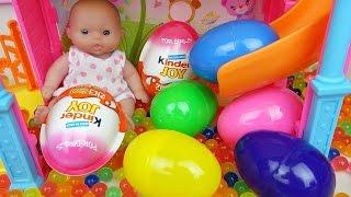 Baby Doll Slide Surprise eggs and Kinder joy toys