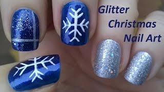getlinkyoutube.com-CHRISTMAS NAIL ART Tutorial In Blue & Silver - Easy Snowflake Nails