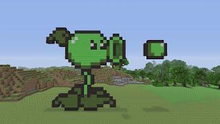 getlinkyoutube.com-Minecraft Pixel Art  - PeaShooter from Plants vs Zombies