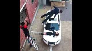 getlinkyoutube.com-140615 High School Love On Filming - Woohyun doing wire scene