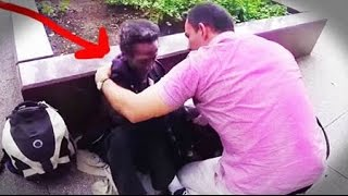 getlinkyoutube.com-Homeless Man Cries Tears Of Joy Over Surprise Birthday Gift