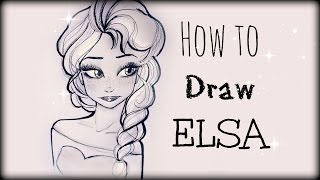 getlinkyoutube.com-Drawing Tutorial ❤ How to draw Elsa from Frozen