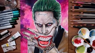 getlinkyoutube.com-Suicide Squad : Joker (Jared Leto) - speed drawing | drawholic