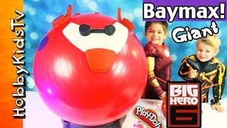 getlinkyoutube.com-Mega GIANT Play-Doh BAYMAX FLYING Surprise Egg Head! Big Hero 6, Disney Cars, HobbyKidsTV
