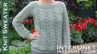 getlinkyoutube.com-Long-sleeve lace sweater knitting pattern