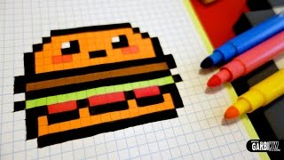 getlinkyoutube.com-Handmade Pixel Art - How To Draw Kawaii Hamburger #pixelart #kawaii