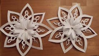 getlinkyoutube.com-Объемная 3D снежинка из бумаги. 3D Paper Snowflake